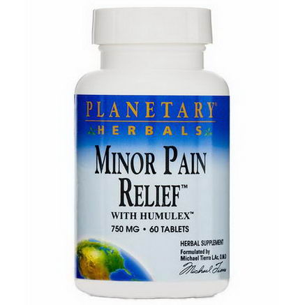 Planetary Herbals, Minor Pain Relief, with Humulex, 750mg, 60 Tablets
