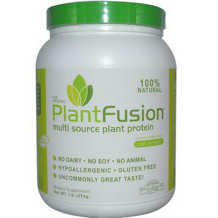 PlantFusion, Multi Source Plant Protein, Powder, Unflavored, 1 lb (454g)