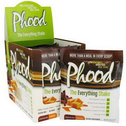 PlantFusion, Phood, 100% Plant-Based Whole Food Meal Shake, Chocolate Caramel, 12 Packets, 1.59oz (45g) Each