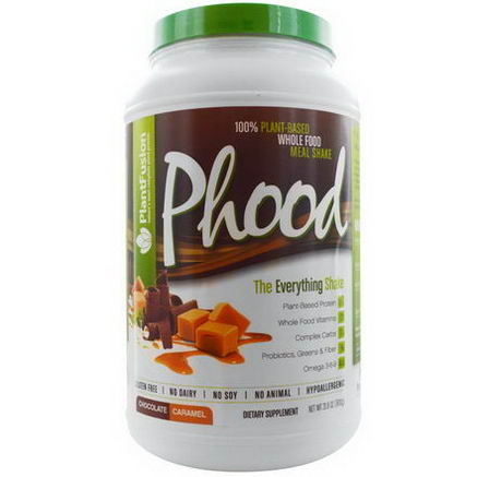 PlantFusion, Phood, 100% Plant-Based Whole Food Meal Shake, Chocolate Caramel, 31.8oz (900g)