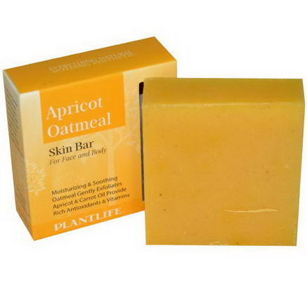 Plantlife, Skin Bar for Face and Body, Apricot Oatmeal, 4.5oz (127g)