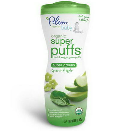 Plum Organics, Baby, Super Puffs, Fruit & Veggie Grain Puffs, Spinach & Apple, 1.5oz (42g)