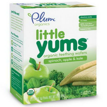 Plum Organics, Little Yums, Organic Teething Wafers, Spinach, Apple & Kale, 6 Packs, 0.5oz (14.1g) Each