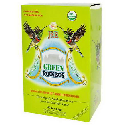 Port Trading Co. Green Rooibos, Caffeine-Free, 40 Tea Bags, 3.53oz (100g)