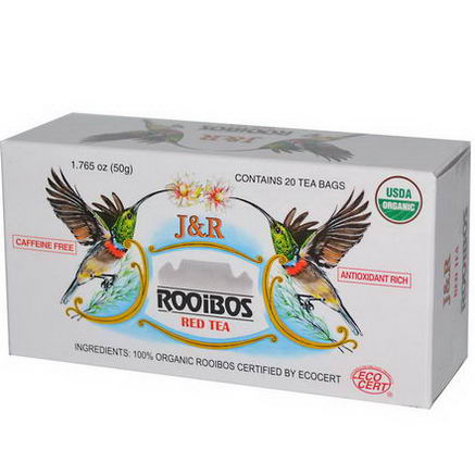 Port Trading Co. J&R Rooibos Red Tea, Caffeine Free, 20 Tea Bags, 1.765oz (50g)