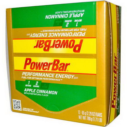 PowerBar, Performance Energy Bar, Apple Cinnamon, 12 Bars, 2.29oz (65g) Each