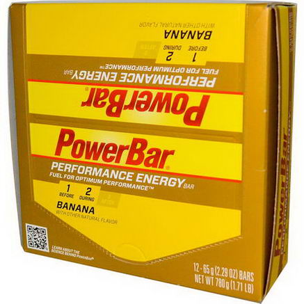 PowerBar, Performance Energy Bar, Banana, 12 Bars, 2.29oz (65g) Each