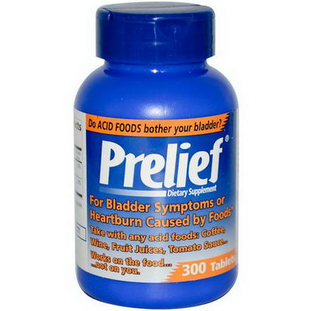 Prelief, Bladder Symptoms and Heartburn Formula, 300 Tablets