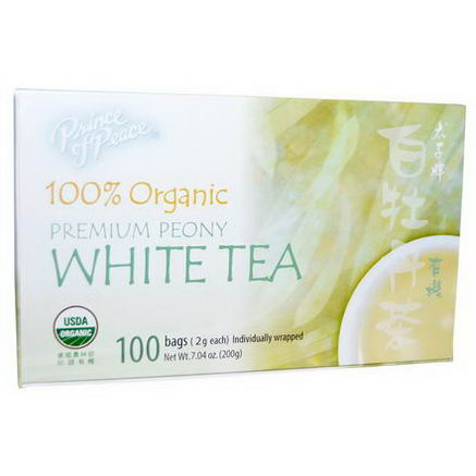Prince of Peace, 100% Organic Premium Peony White Tea, 100 Tea Bags, 2g Each