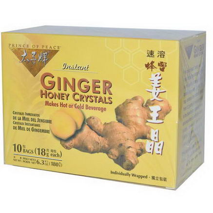 Prince of Peace, Instant Ginger Honey Crystals, 10 Bags, (18g) Each