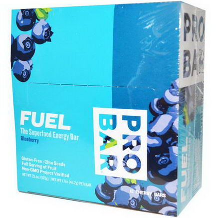 ProBar, Fuel, The Superfood Energy Bar, Blueberry, 12 Bars, 1.7oz (48.2g) Per Bar