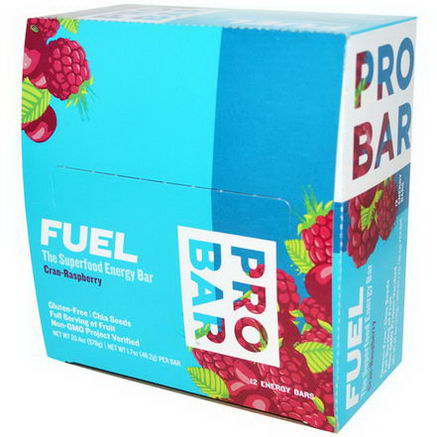 ProBar, Fuel, The Superfood Energy Bar, Cran-Raspberry, 12 Bars, 1.7oz (48g) Per Bar