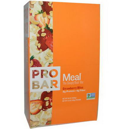 ProBar, Meal, The Simply Real Bar, Strawberry Bliss, 12 Meal Bars, 3.0oz (85g) Each