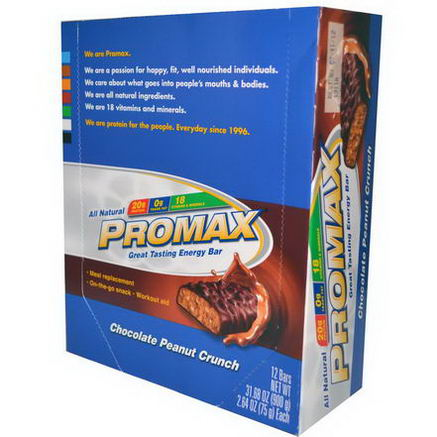 Promax Nutrition, Energy Bars, Chocolate Peanut Crunch, 12 Bars, 2.64oz (75g) Each