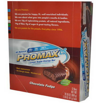 Promax Nutrition, LS, Lower Sugar Energy Bar, Chocolate Fudge, 12 Bars, 2.36oz (67g) Each