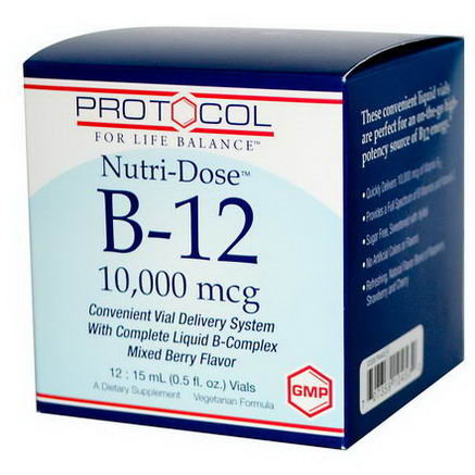 Protocol for Life Balance, Nutri-Dose B-12, Mixed Berry Flavor, 10, 000 mcg, 12 Vials, 0.5 fl oz (15 ml) Each