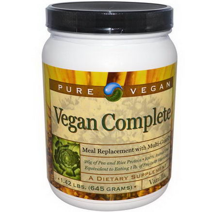 Pure Advantage, Pure Vegan, Meal Replacement with Multi-GuarD, Vanilla, 1.42 lbs (645g)