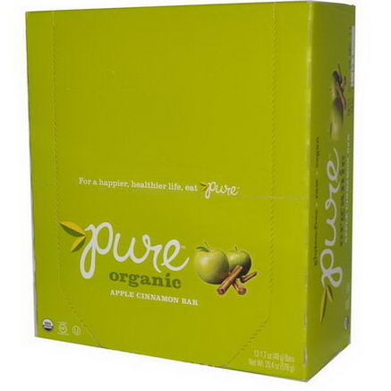 Pure Bar, Organic Bar, Apple Cinnamon, 12 Bars, 1.7oz (48g) Each