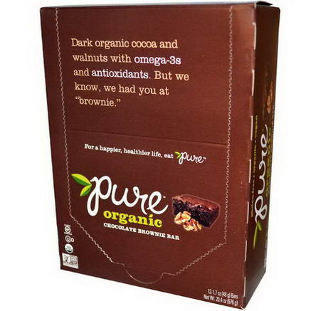 Pure Bar, Organic, Chocolate Brownie, 12 Bars, 1.7oz (48g) Each