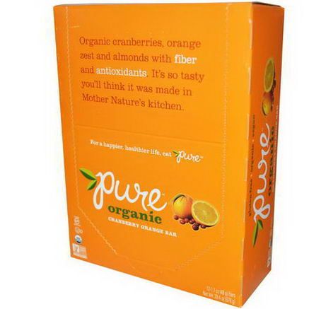 Pure Bar, Organic, Cranberry Orange, 12 Bars, 1.7oz (48g) Each