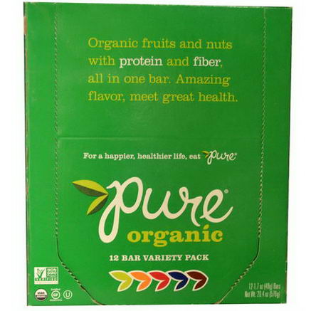 Pure Bar, Organic, Variety Pack, 12 Bars, 1.7oz (48g) Each