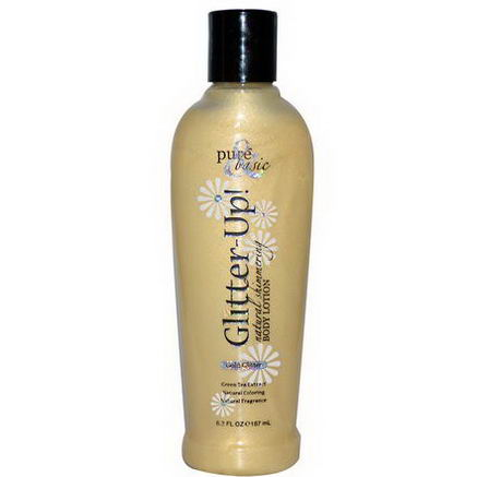 Pure & Basic, Glitter Up, Natural Shimmering Body Lotion, Gold Glitter, 6.3 fl oz (187 ml)