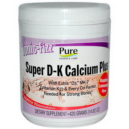 Pure Essence, Ionic-Fizz, Super D-K Calcium Plus, Raspberry Lemonade, 14.82oz (420g)