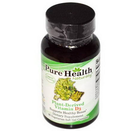 Pure Health, Plant-Derived Vitamin D3, 90 Veggie Soft Gel Caps