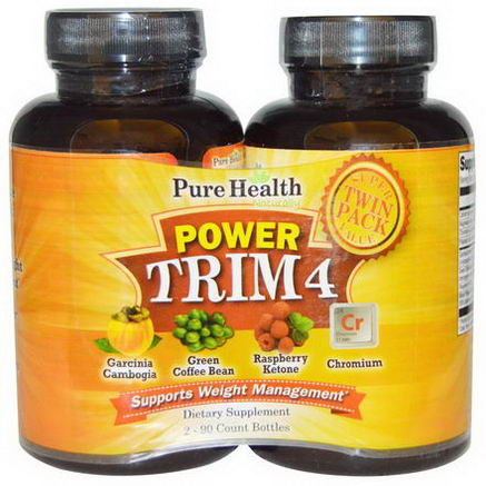 Pure Health, Power Trim 4, Weight Management, 2 Bottles, 90 Capsules Each