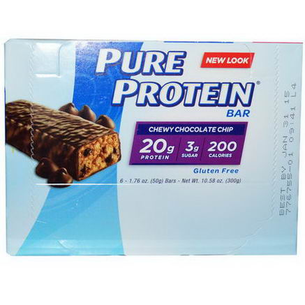 Pure Protein, Chewy Chocolate Chip Bar, 6 Bars, 1.76oz (50g) Each