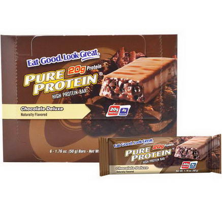 Pure Protein, High Protein Bar, Chocolate Deluxe, 6 Bars, 1.76oz (50g) Each