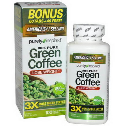 Purely Inspired, Green Coffee, 800mg, 100 Tablets