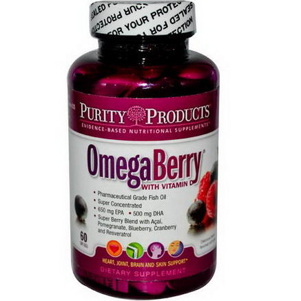 Purity Products, OmegaBerry, Berry Flavored, 60 Softgels