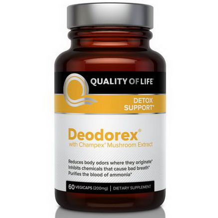 Quality of Life Labs, Deodorex, With Champex Mushroom Extract, 200mg, 60 Veggie Caps