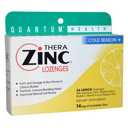 Quantum Health, Thera Zinc Lozenges, Cold Season +, 24 Lemon Lozenges