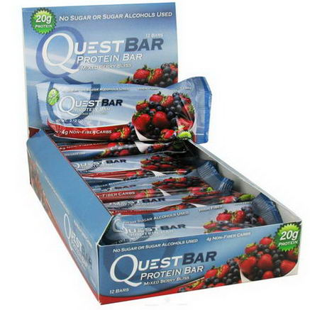Quest Nutrition, Protein Bar, Mixed Berry Bliss, 12 Bars, 2.12oz (60g) Each