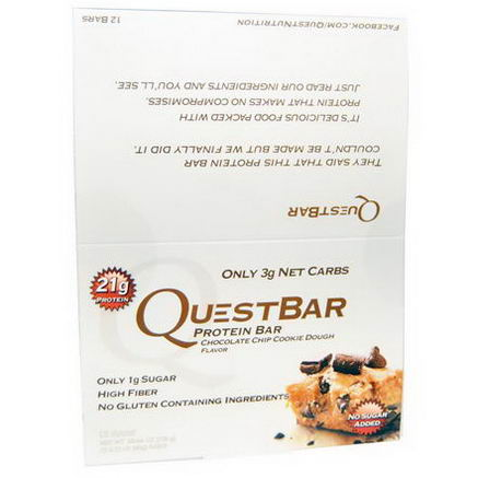 Quest Nutrition, Quest Protein Bar, Chocolate Chip Cookie Dough, 12 Bars, 2.12oz (60g) Each