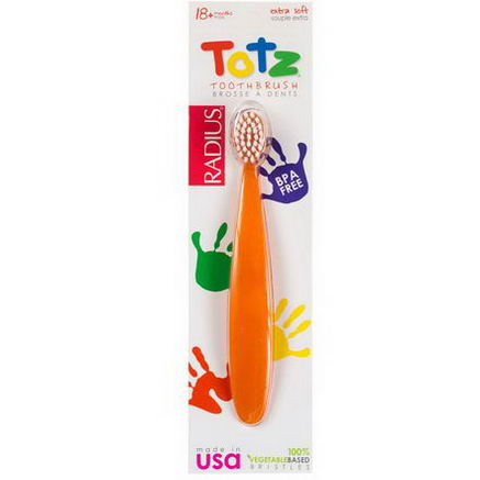 RADIUS, Totz Toothbrush, 18 + Months, Extra Soft, Orange Sparkle