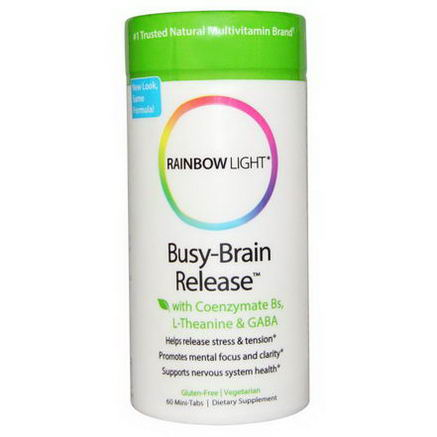Rainbow Light, Busy-Brain Release with Coenzymate Bs, L-Theanine & GABA, 60 Mini-Tabs