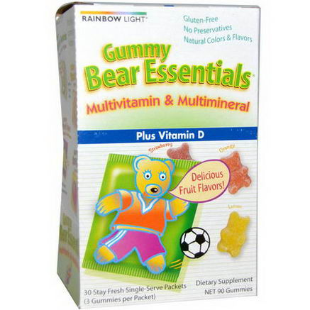 Rainbow Light, Gummy Bear Essentials, Multivitamin & Multimineral, Strawberry, Orange, & Lemon Flavors, 30 Packets, (3 Gummies) Each