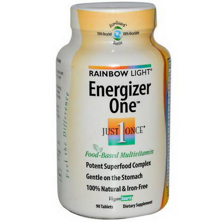 Rainbow Light, Just Once, Energizer One, Food-Based Multivitamin, Iron-Free, 90 Tablets