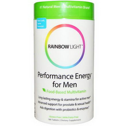 Rainbow Light, Performance Energy for Men, Food-Based Multivitamin, 180 Tablets