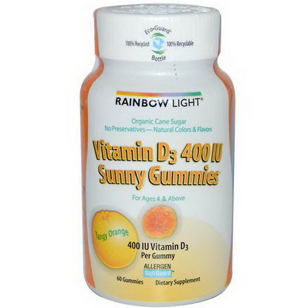 Rainbow Light, Vitamin D3 Sunny Gummies, Tangy Orange, 400 IU, 60 Gummies