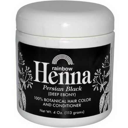 Rainbow Research, Henna, 100% Botanical Hair Color & Conditioner, Persian Black (Deep Ebony), 4oz (113g)