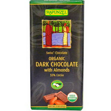 Rapunzel, Organic Dark Chocolate with Almonds, 3oz (85g)