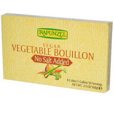 Rapunzel, Vegan Vegetable Bouillon, No Salt Added, 8 Cubes, 2.4oz (68g)