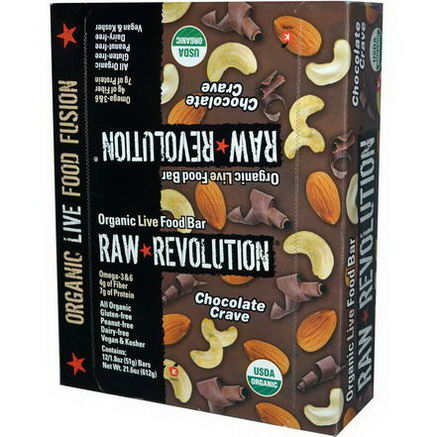 Raw Revolution, Organic Live Food Bar, Chocolate Crave, 12 Bars, 1.8oz (51g) Each