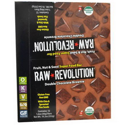 Raw Revolution, Super Food Bar, Double Chocolate Brownie, 12 Bars, 1.6oz (46g) Each