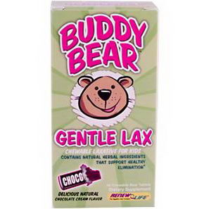 Renew Life, Buddy Bear Gentle Lax, Chocolate Cream Flavor, 60 Chewable Bear Tablets