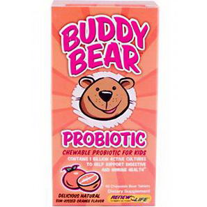 Renew Life, Buddy Bear Probiotic, Sun-Kissed Orange Flavor, 60 Chewable Bear Tablets